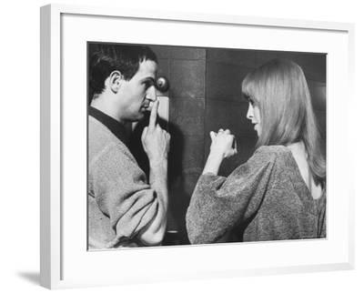 "Film Director Francois Truffaut with Actress Julie Christie During Filming of ""Fahrenheit 451."""