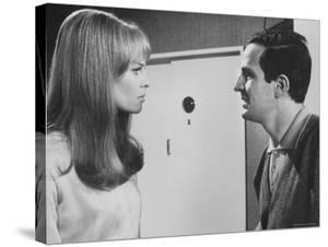 """Film Director Francois Truffaut with Actress Julie Christie During Filming of """"Fahrenheit 451."""" by Paul Schutzer"""