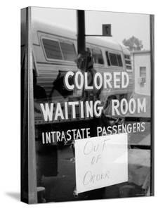 "Freedom Riders: ""Out of Order"" Sign Pasted to Window for Segregated Waiting Room by Paul Schutzer"