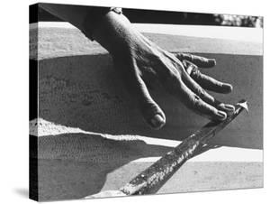 Hands of Sculptor Barbara Hepworth, in Her Studio by Paul Schutzer
