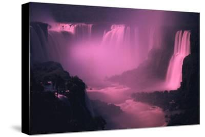 Iquassu (Iguacu) Falls on Brazil-Argentina Border, Once known as Santa Maria Falls, at Twilight