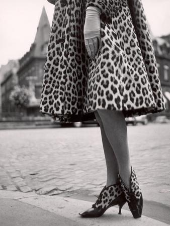 Laced Bootees of Leopard, to Match Coat, Designed by Dior