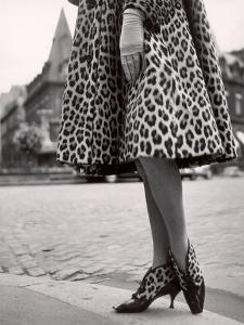 Laced Bootees of Leopard, to Match Coat, Designed by Dior by Paul Schutzer