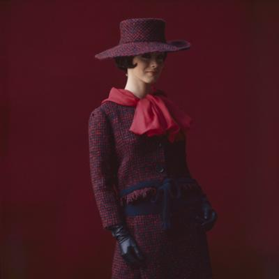 Model Dressed in a Matching Tweed Hat, Jacket, and Skirt by Yves St Laurent, Paris, France, 1962