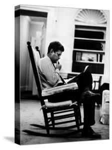 President John F. Kennedy Sitting Alone, Thoughtfully, in His Rocking Chair in the Oval Office by Paul Schutzer