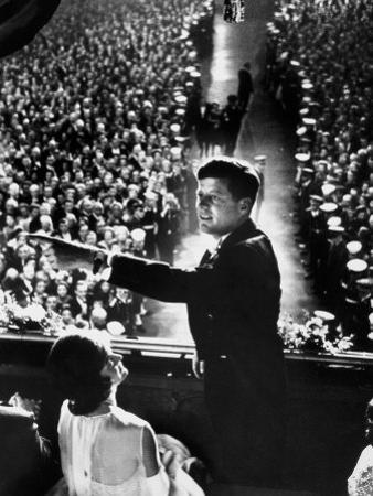 President John Kennedy Next to His Wife Jacqueline Overlooking Crowd Attending His Inaugural Ball