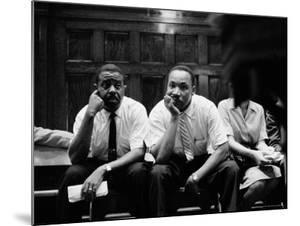 Rev. Ralph Abernathy and Rev. Martin Luther King Jr. Sitting Pensively Re Freedom Riders by Paul Schutzer
