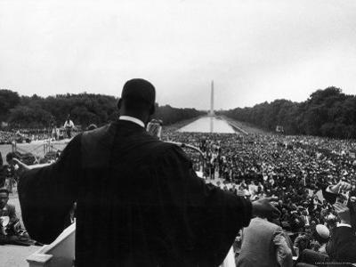 Reverend Martin Luther King Jr. Speaking at 'Prayer Pilgrimage for Freedom' at Lincoln Memorial