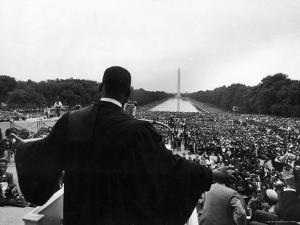 Reverend Martin Luther King Jr. Speaking at 'Prayer Pilgrimage for Freedom' at Lincoln Memorial by Paul Schutzer