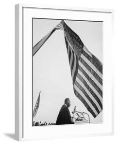 Reverend Martin Luther King Jr. Speaking at Prayer Pilgrimage for Freedom at Lincoln Memorial by Paul Schutzer