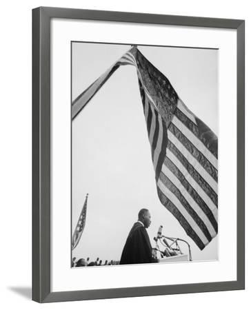 Reverend Martin Luther King Jr. Speaking at Prayer Pilgrimage for Freedom at Lincoln Memorial