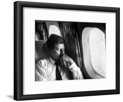 Senator John F. Kennedy on His Private Plane During His Presidential Campaign