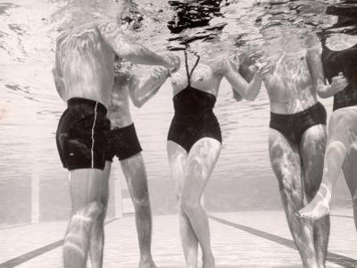 Underwater Shot of Actress Daphne Dayle in Topless, One Piece Swim Suit by Designer Ruben Torres by Paul Schutzer