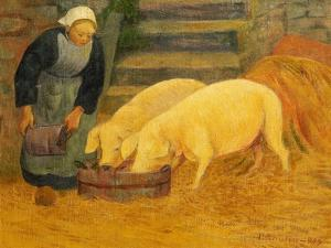 A Young Girl Feeding Two Pigs by Paul Serusier