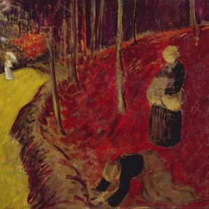 Fern Gatherers in the Bois d'Amour at Pont Aven; Les Ramasseuses de Fougeres Au Bois d'Amour a… by Paul Serusier