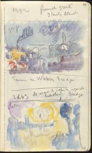 Carnet : Deux paysages dans un cadre et annotations by Paul Signac