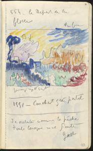 Carnet : Paysage et annotations manuscrites by Paul Signac