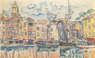 Carnet : Port d'une ville de la côte Méditérranéenne by Paul Signac