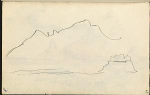 Carnet : Vue de la côte Corse (?), esquisse de paysage by Paul Signac