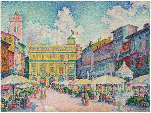 Market of Verona, 1909 by Paul Signac