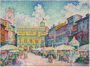Market of Verona, 1909 by Paul Signac