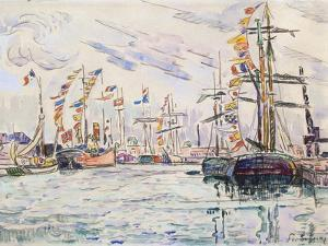 Sailboats with Holiday Flags at a Pier in Saint-Malo, 1920s by Paul Signac