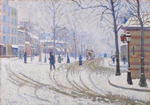 Snow, Boulevard De Clichy, Paris, 1886 by Paul Signac