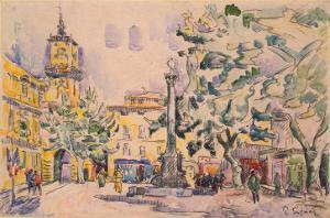 Square of the Hotel De Ville in Aix-En-Provence by Paul Signac