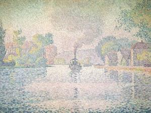 """The Seine at Sannois, the Tugboat """"L'Hirondelle"""", 1901 by Paul Signac"""