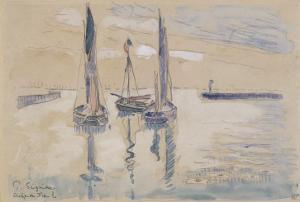 Trois barques à voiles à l'abri d'une jetée by Paul Signac