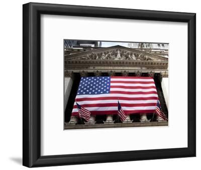 American Flag, New York Stock Exchange Building, Lower Manhattan, New York City, New York, Usa