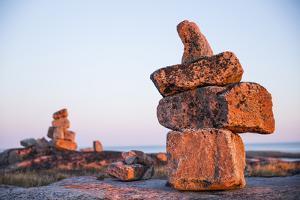 Canada, Nunavut, Rocks Cairns on Harbour Islands Along Hudson Bay by Paul Souders