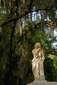 Graveyard Statue and Trees Draped in Spanish Moss at Entrance to Bonaventure Cemetery by Paul Souders