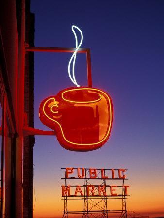 Public Market Sign at Sunset, Seattle, Washington, USA