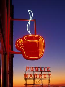 Public Market Sign at Sunset, Seattle, Washington, USA by Paul Souders