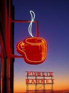 Public Market Sign at Sunset, Seattle, Washington, USA by Paul Souders