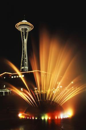 Space Needle Tower with Fountain, Seattle, Washington, USA