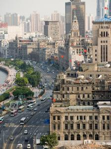 View of the Bund District Along Huangpu River, Shanghai, China by Paul Souders