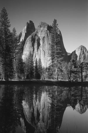 View of Valley's Sheer Rock with Pond, Yosemite National Park, California, USA