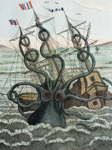 1815 Collosal Polypus Octopus And Ship by Paul Stewart