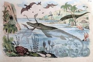 1834 Guerin Engraving 'Extinct Animals by Paul Stewart