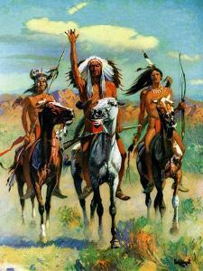 """Indians on Horseback,""November 1, 1929 by Paul Strayer"
