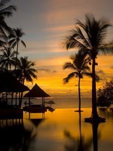 Sunset Scene with Infinity Pool and Trees Overlooking the Java Sea by Paul Sutherland
