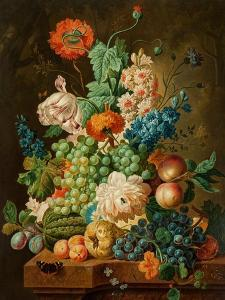Fruit and Flowers on a Marble Table, 1794 by Paul Theodor van Brussel