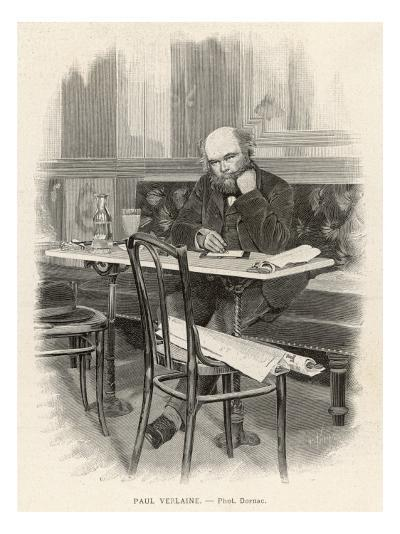 Paul Verlaine French Writer Writing at a Cafe Table--Giclee Print