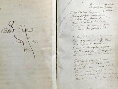 """Handwritten Pages from """"Romances Sans Paroles"""" with Crossed out Dedication to Arthur Rimbaud, 1873"""