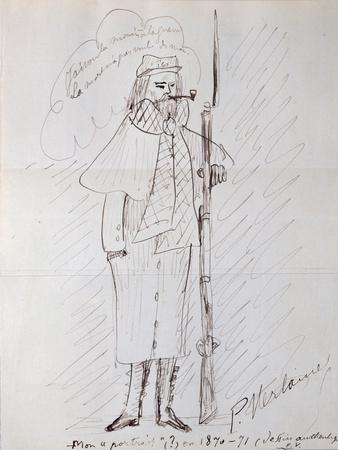 Self Portrait as a Soldier, 1870-71 (Pen and Ink on Paper)