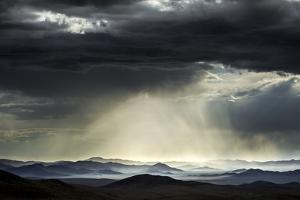 Clouds over steppe grassland, Altanbulag, Mongolia by Paul Williams