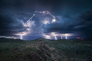 Lightning storm, Western Australia. December 2013. Image stacking / composite. by Paul Williams