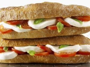 Two Mozzarella and Tomato Baguettes by Paul Williams